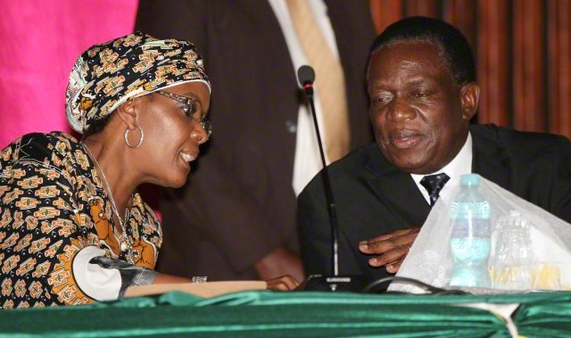 Grace Mugabe talks to Deputy President Emmerson Mnangagwa in Harare
